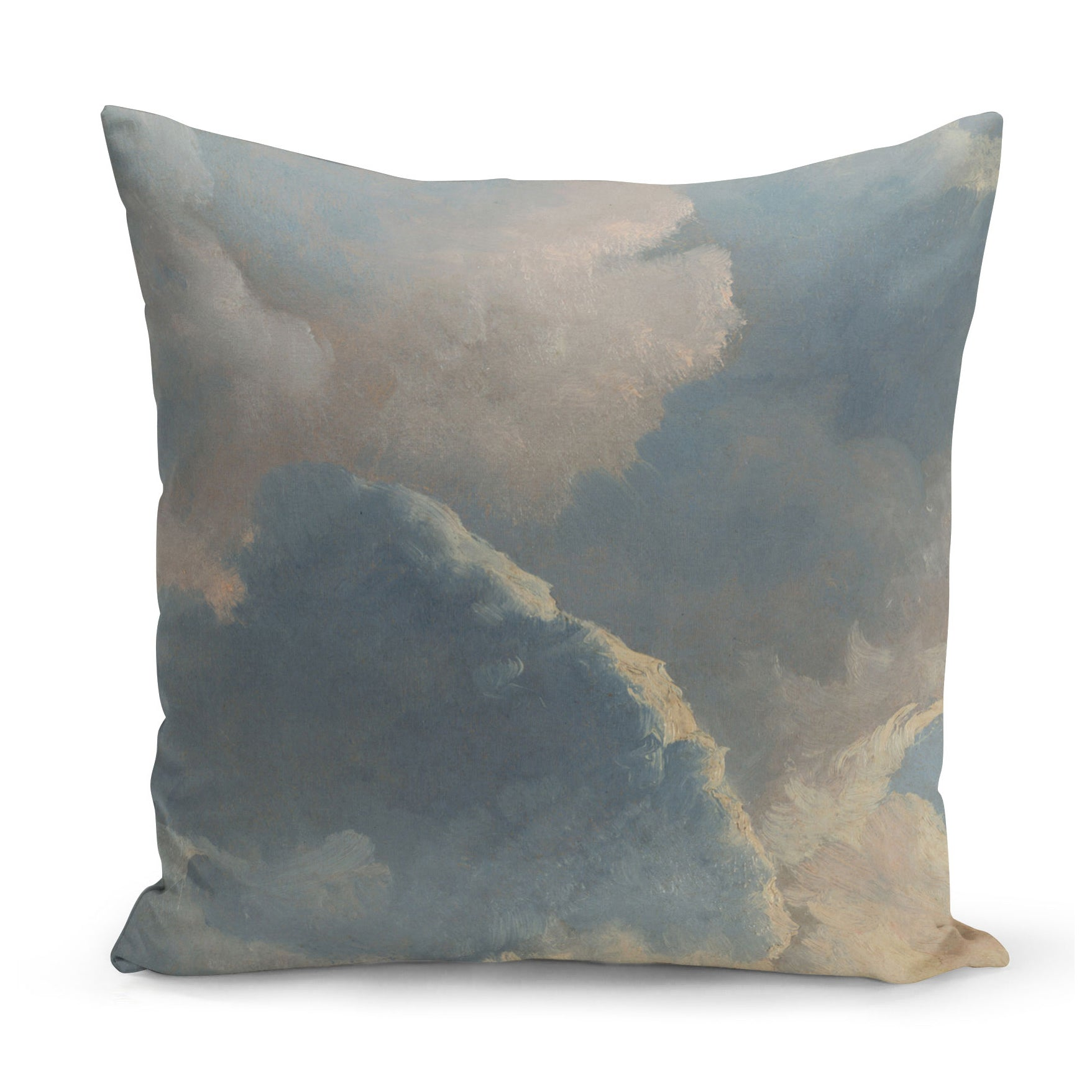 cushion with painted cloud design in blue and cream