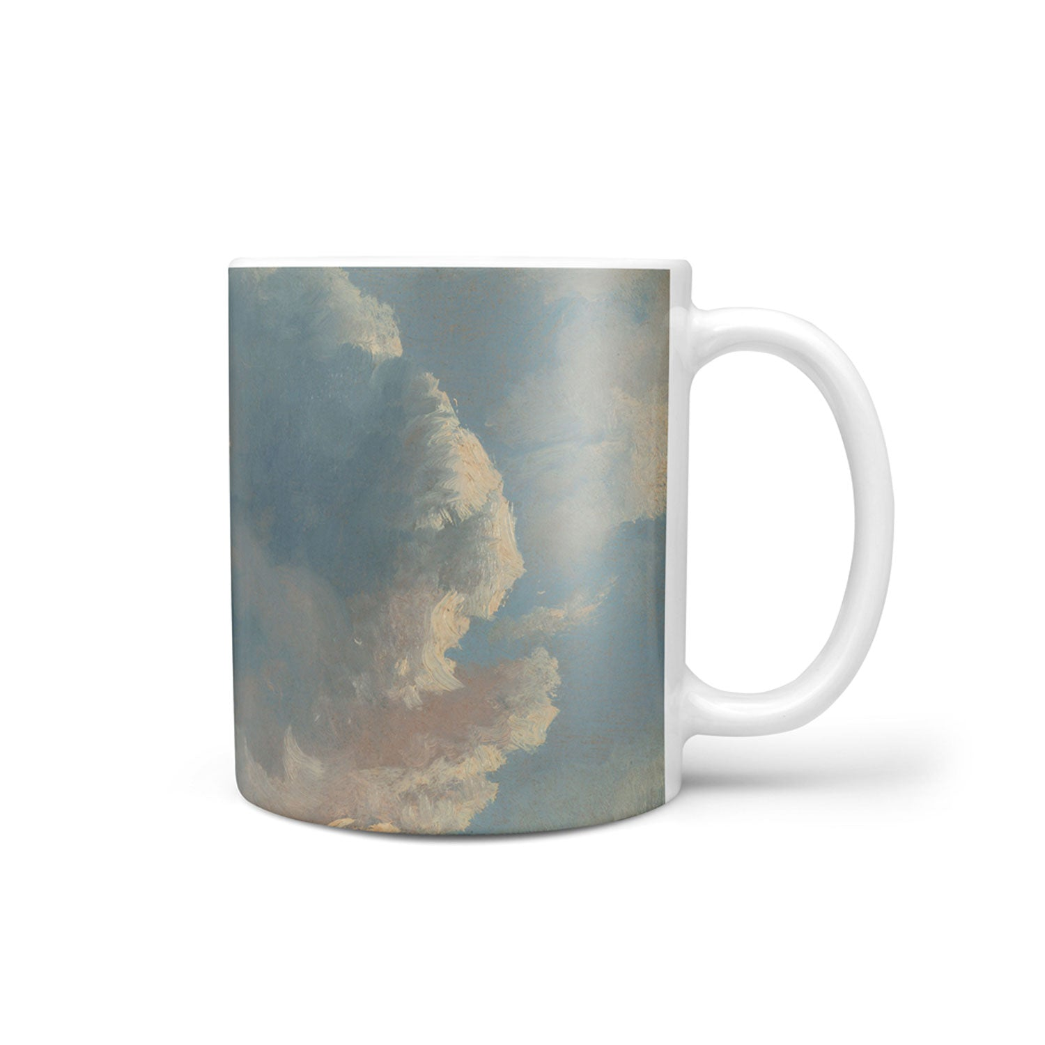 unusual mug with blue cream painted cloud design