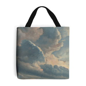 shopping bag with blue and cream painted cloud design