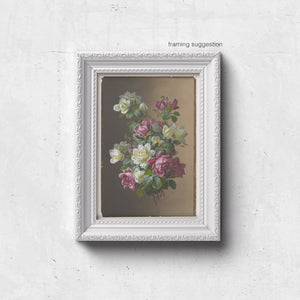 framed vintage roses print in pink and cream