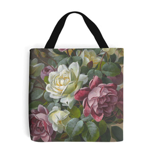 reusable bag decorated with painted roses