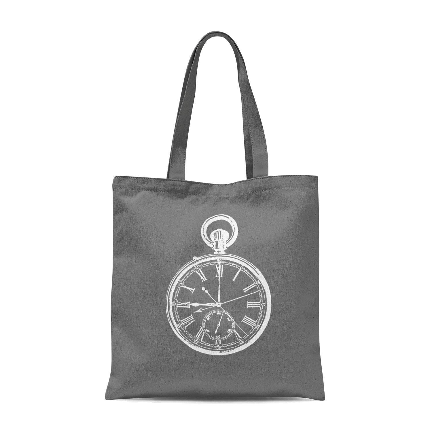 grey tote bag with white pocket watch illustration