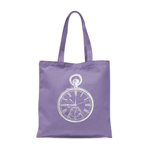 lavender tote bag with white pocket watch illustration