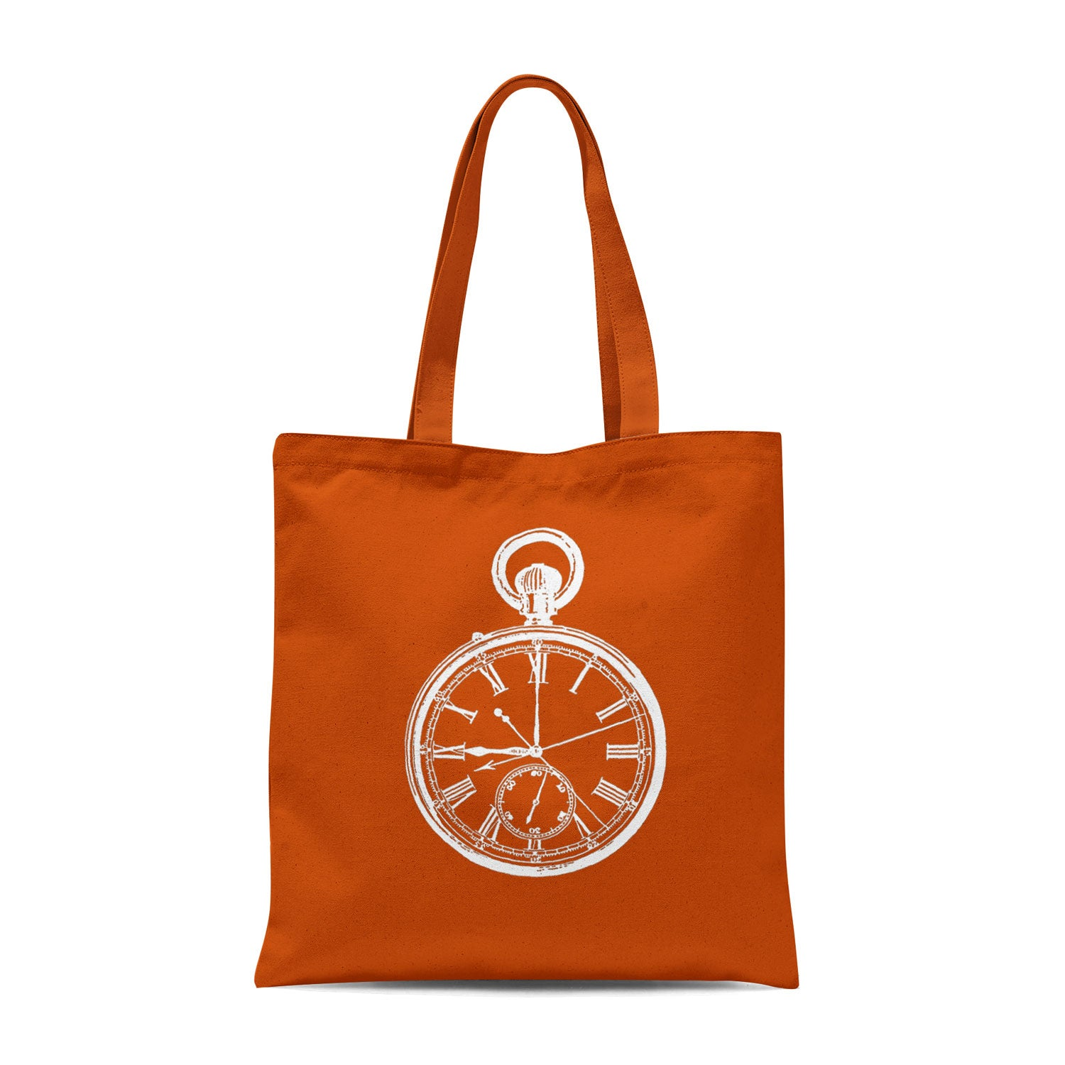 orange tote bag with white pocket watch illustration