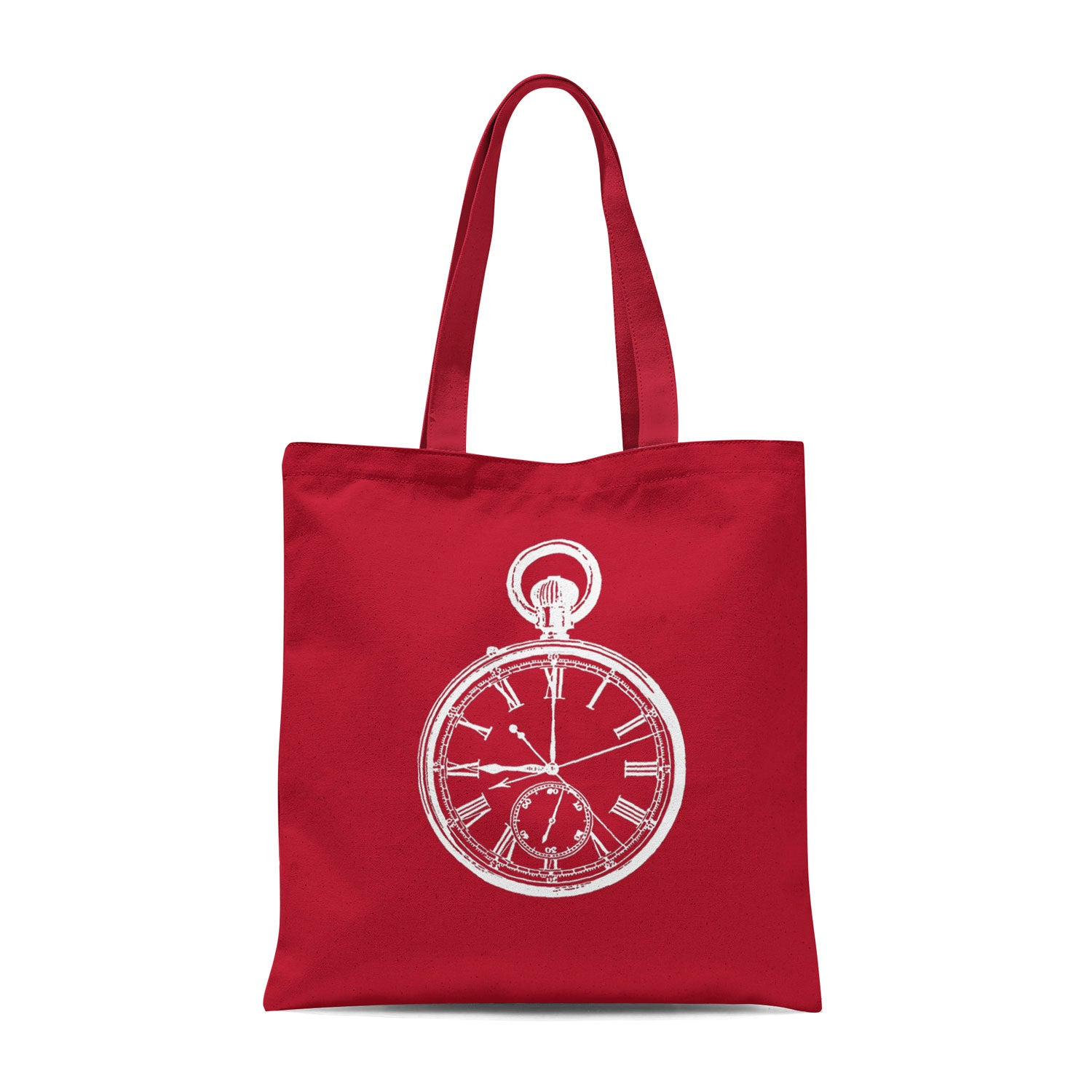 red tote bag with white pocket watch illustration