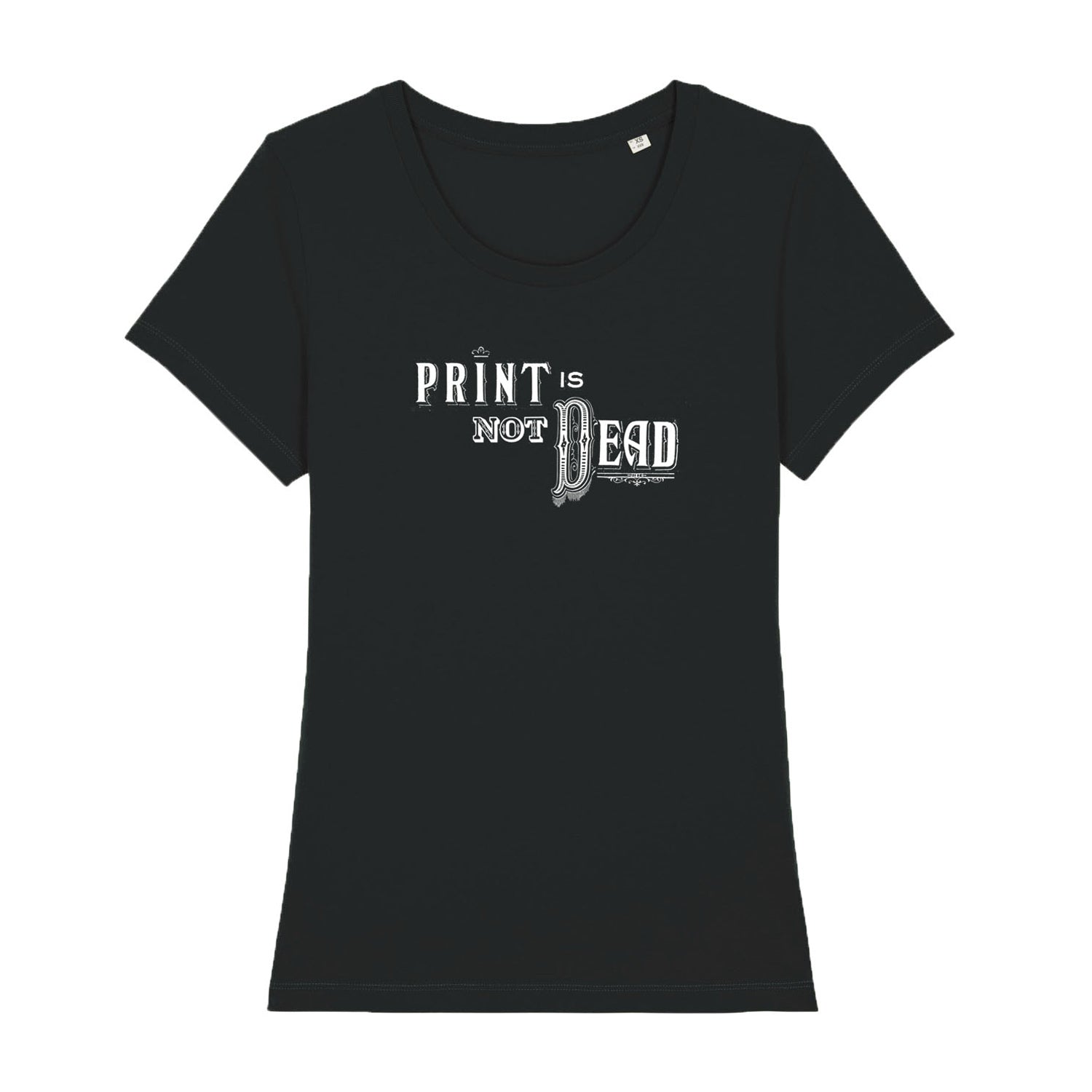 cool womens t shirt in black with vintage illustration of typewriter and the words 'analogue girl' typed next to it