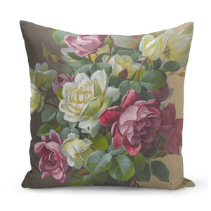 cushion painted with pink and cream roses