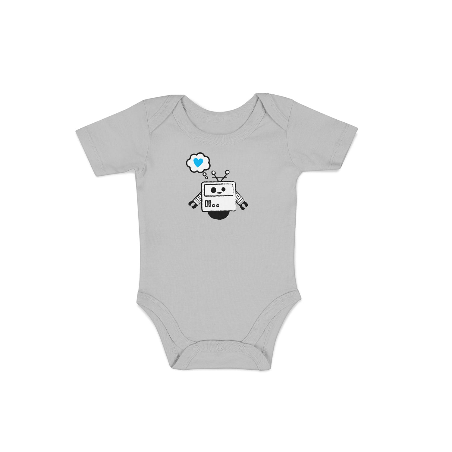 grey baby onesie with robot design on front