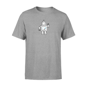 grey mens t shirt with robot graphic