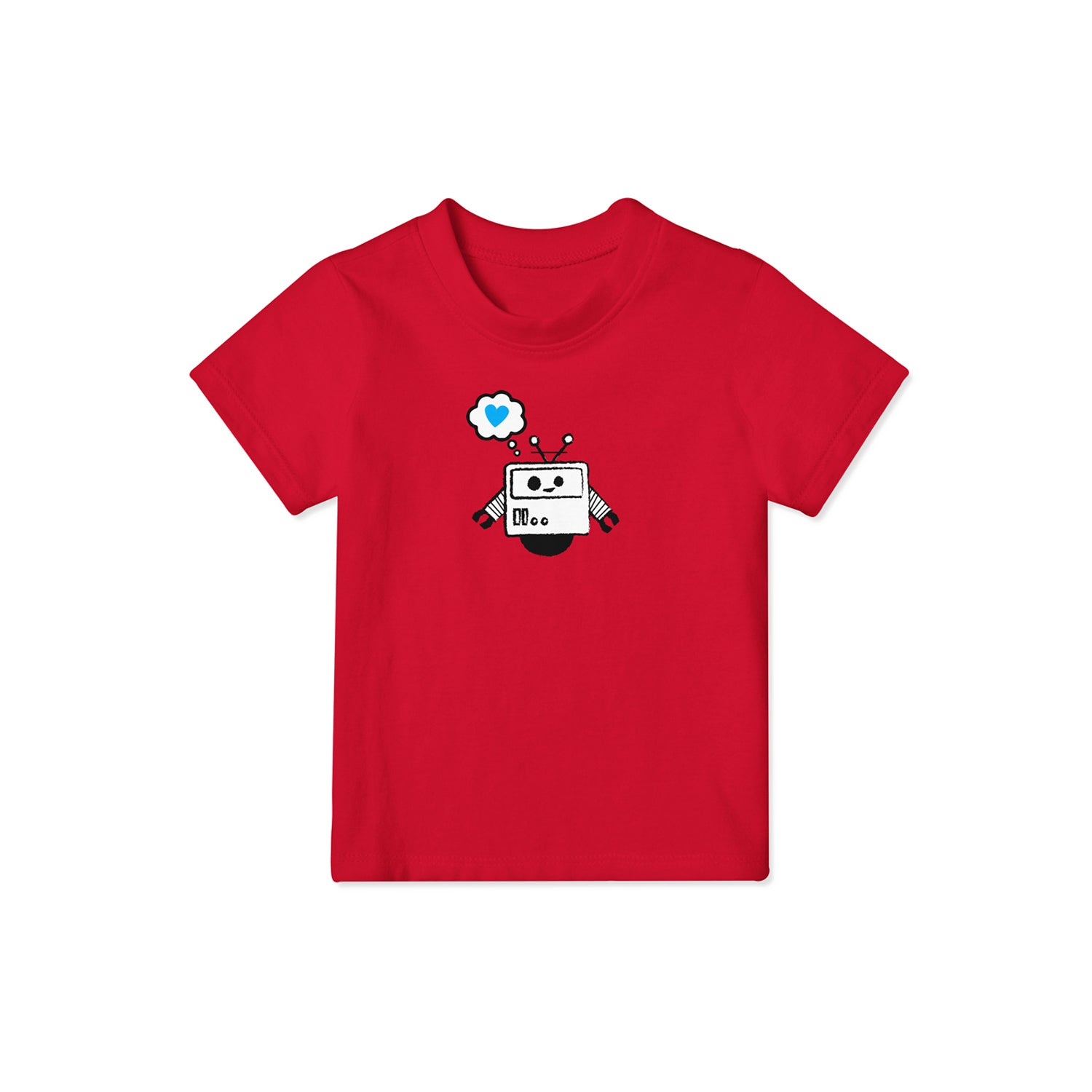 red t shirt for kids with robot design on front