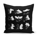 quirky cushion with hand shadow puppets design
