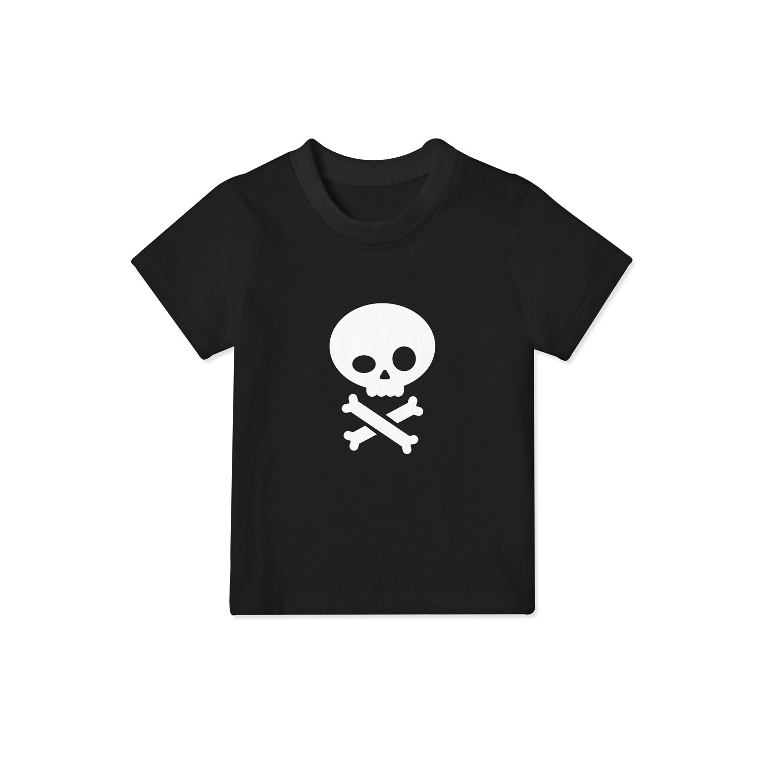 black t shirt for children with pirate skull and crossbones design