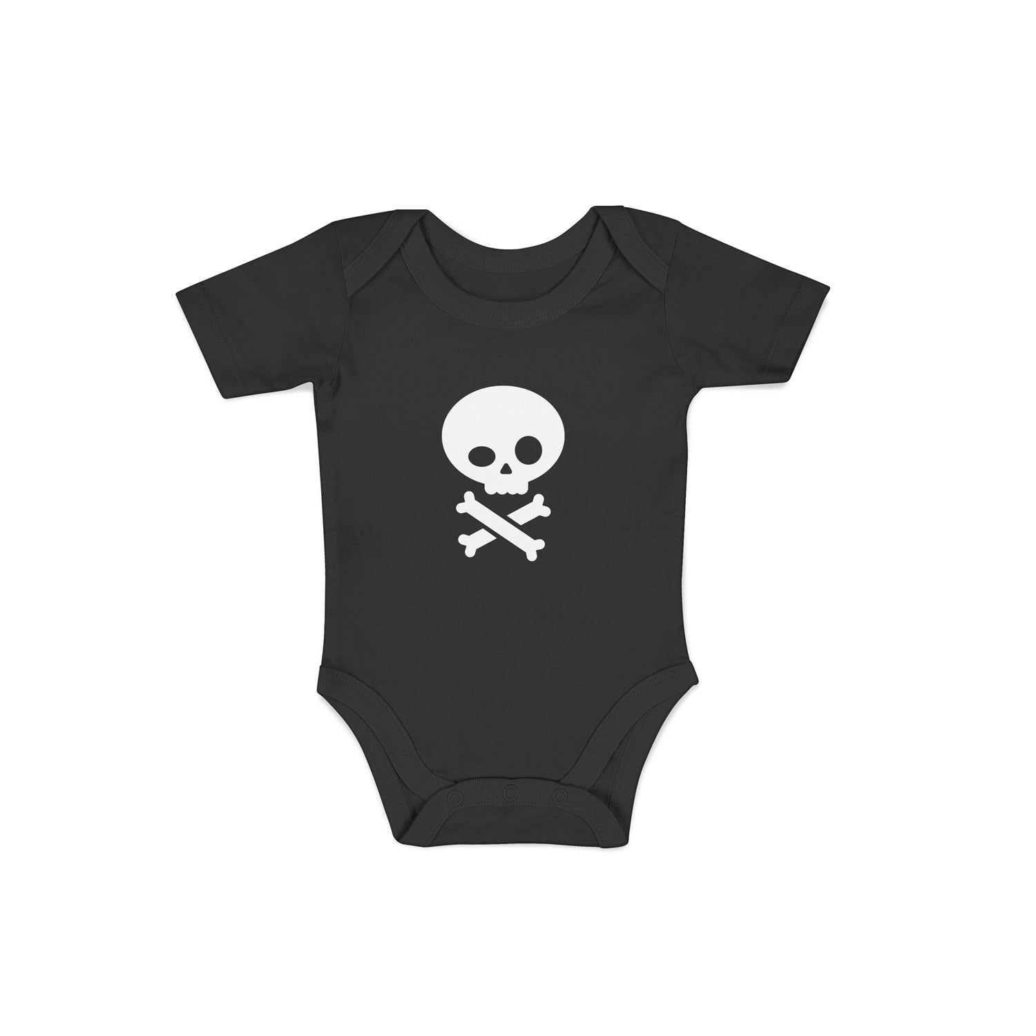 pirate baby grow in black with skull and crossbones design