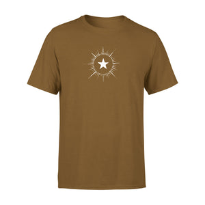 men's brown t shirt with vintage star design
