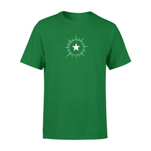 men's green t shirt with vintage star design