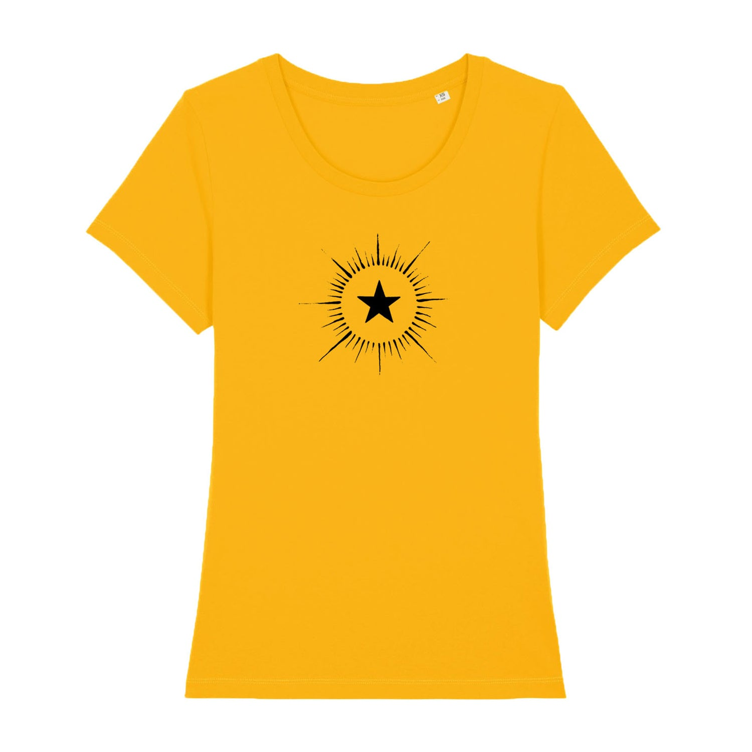 yellow women's t shirt with vintage star design