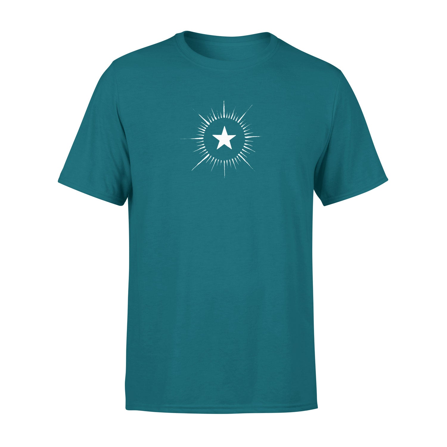 men's teal t shirt with vintage star design