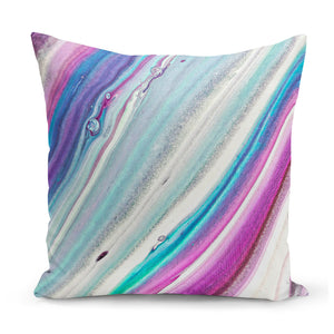 stripy cushion in purple, turquoise, blue, white and pink