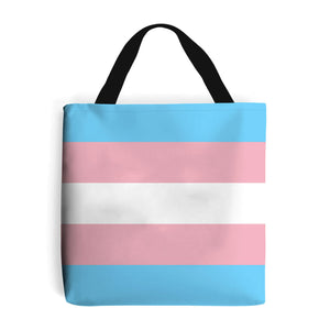 shopping bag with trans pride flag design