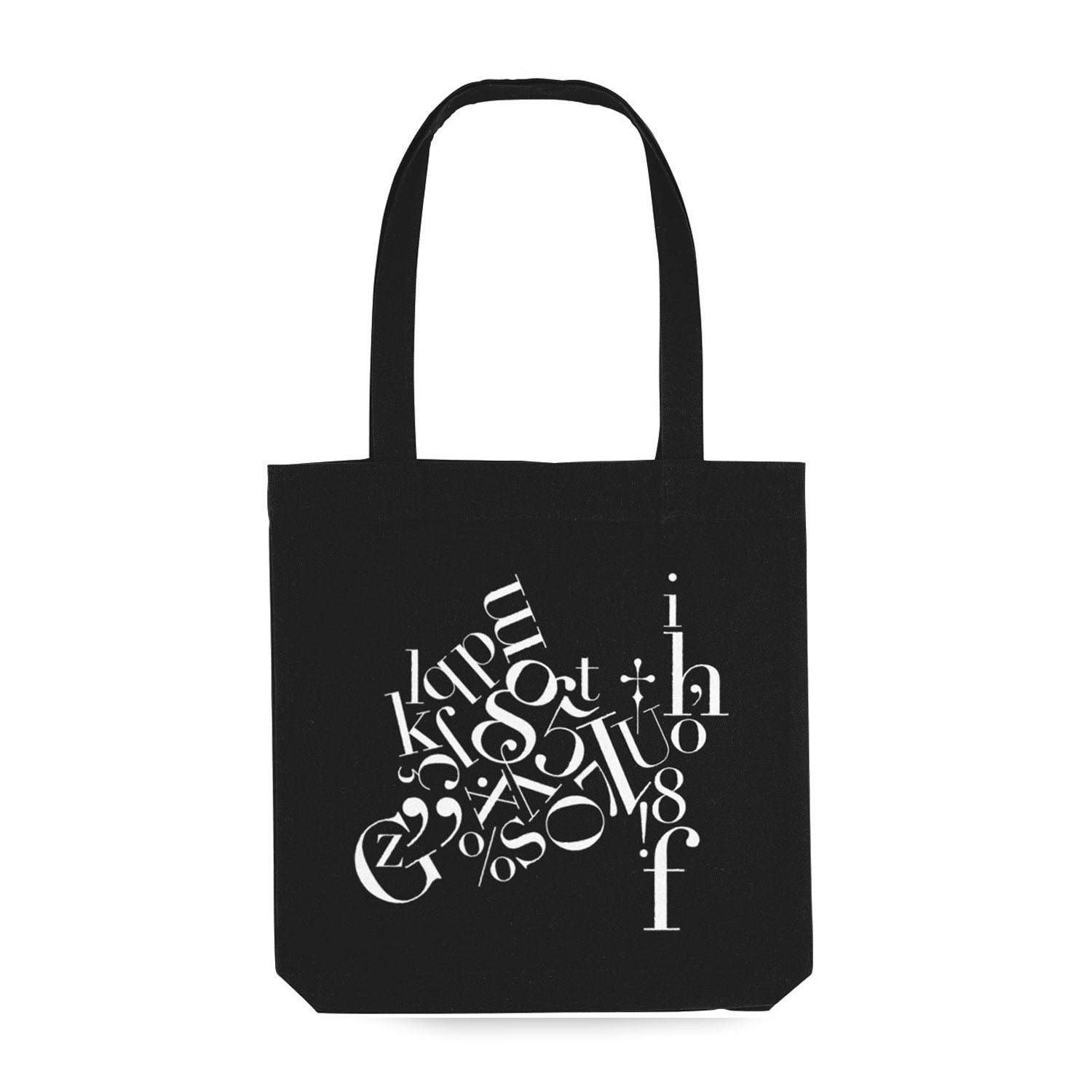 black tote bag with white jumbled lettering decoration