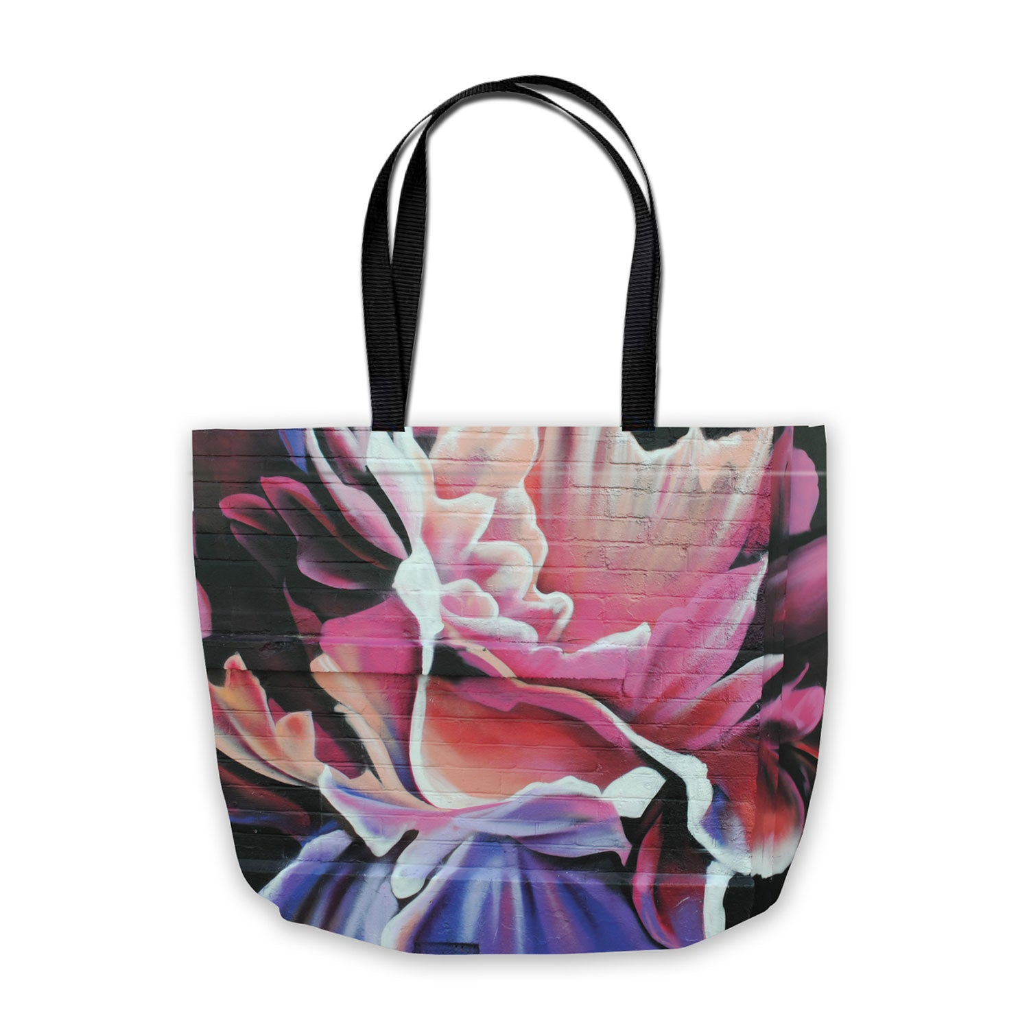 shopping bag with spraypaint flower design in black, red and purple