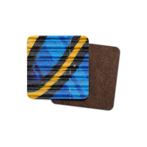 blue and yellow graffiti print coaster