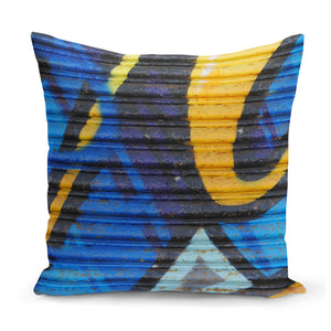 cushion with blue and yellow urban art design