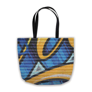 shopping bag with graffiti print in blue and yellow