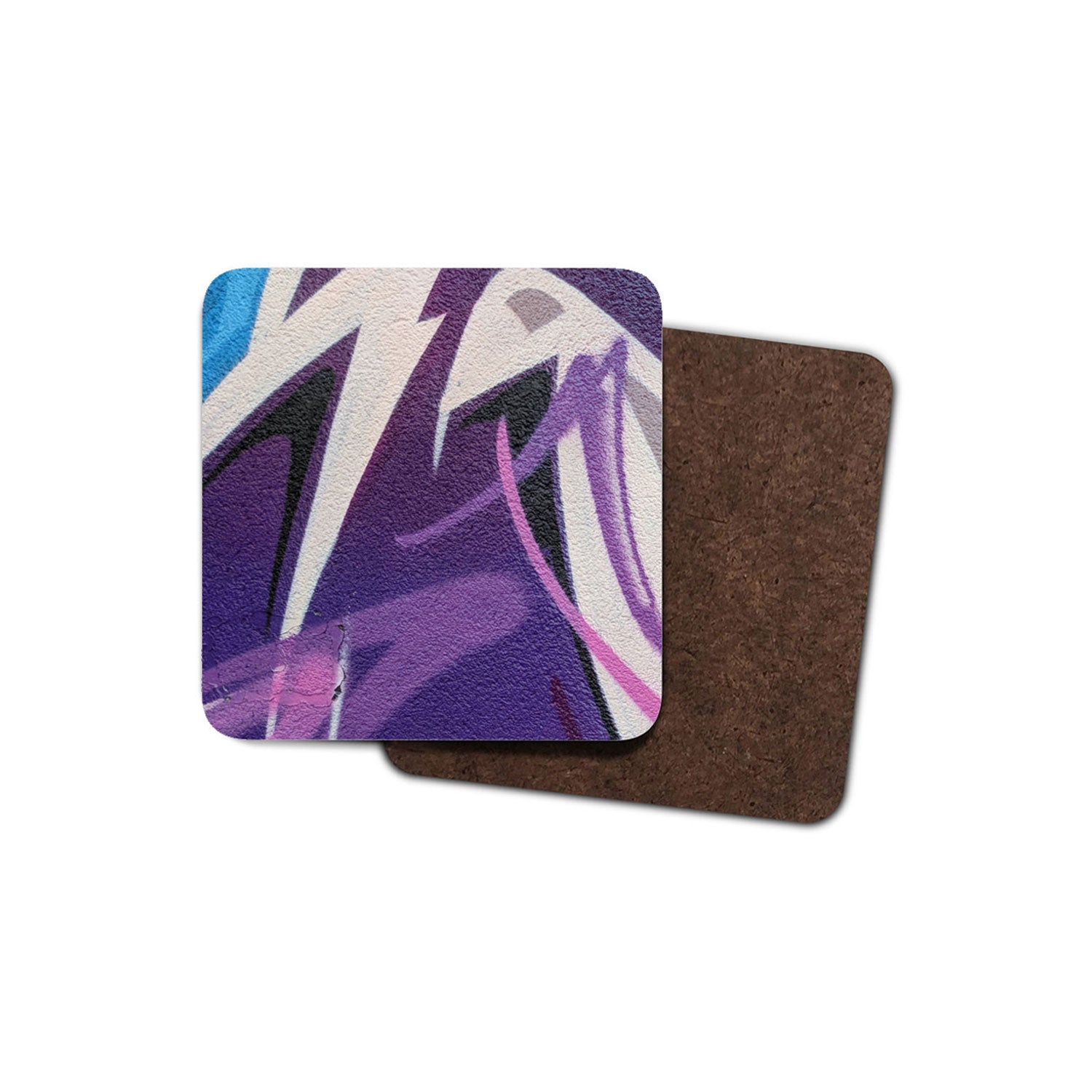 blue and purple graffiti print coaster