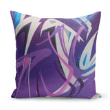 cushion with graffit print design in purple and blue