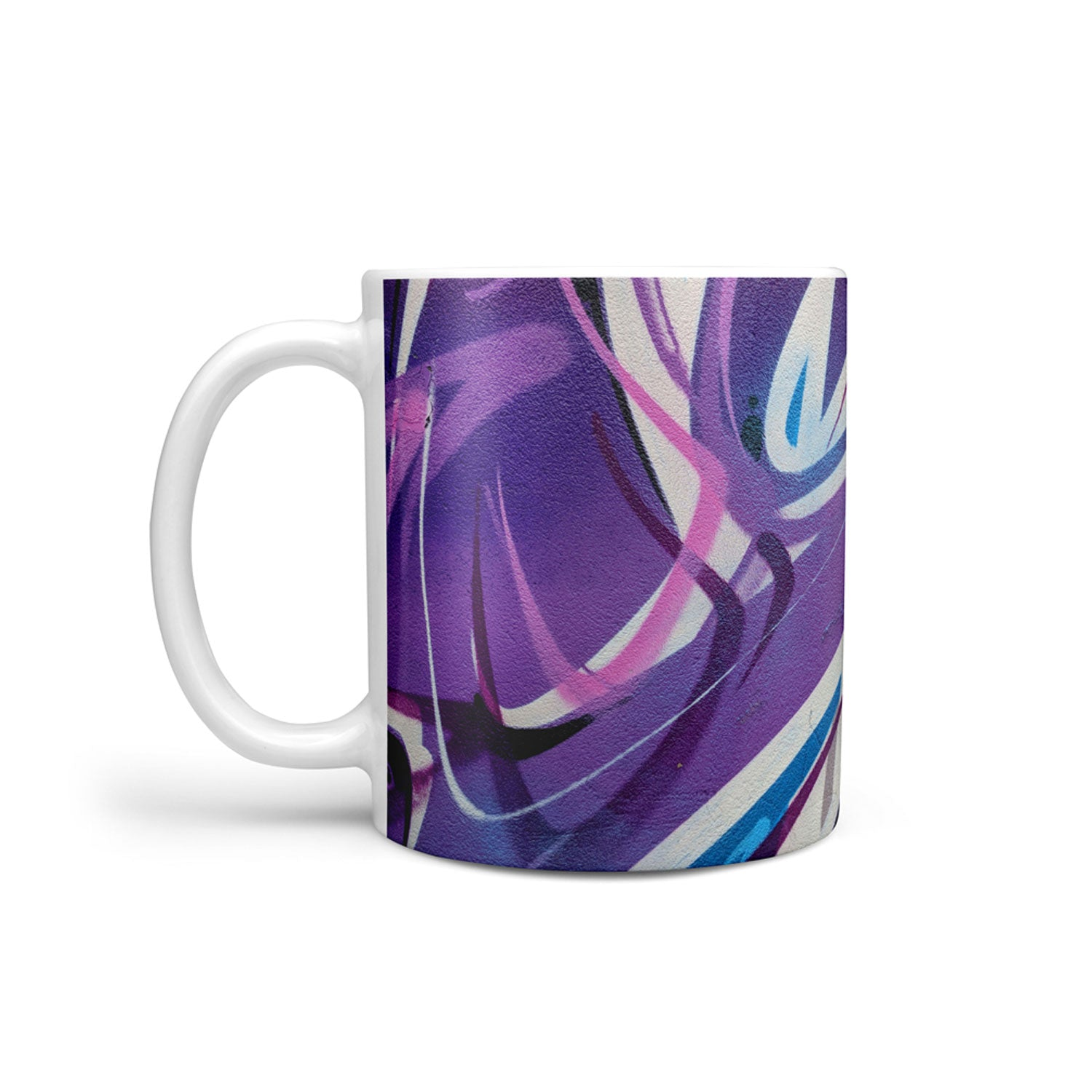 mug with purple and blue graffiti design