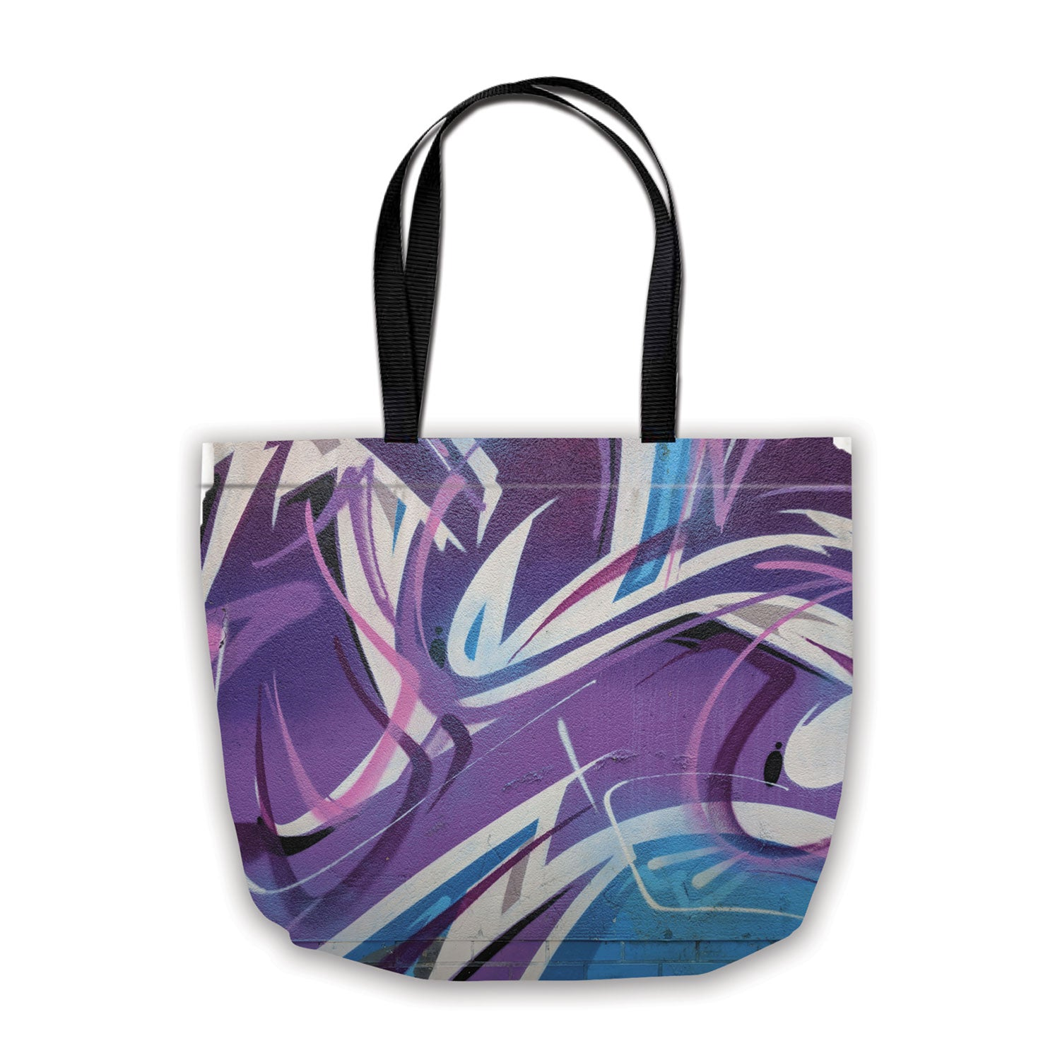 shopping bag with spraypaint design in blue and purple