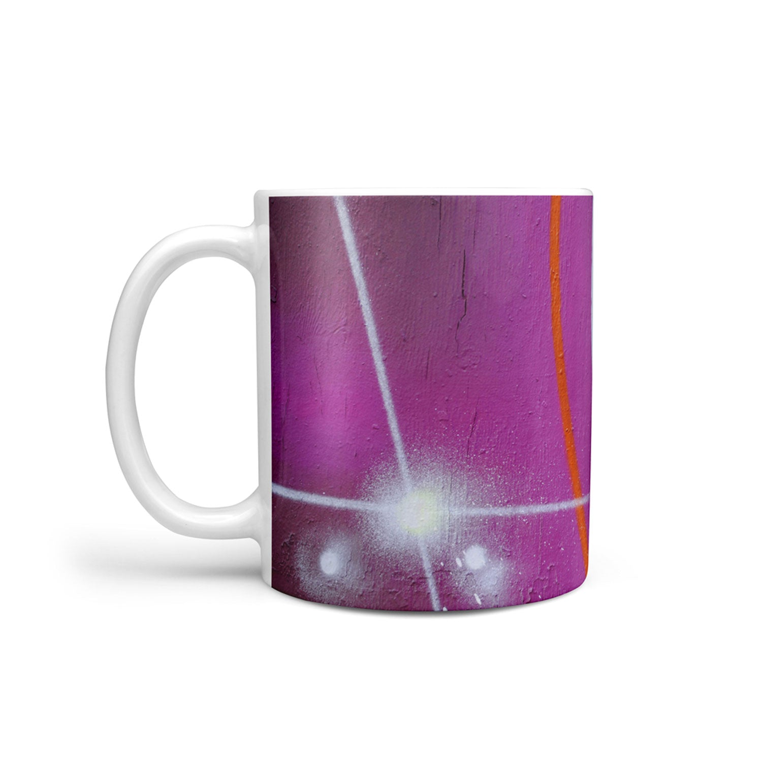 mug with purple and teal graffiti print