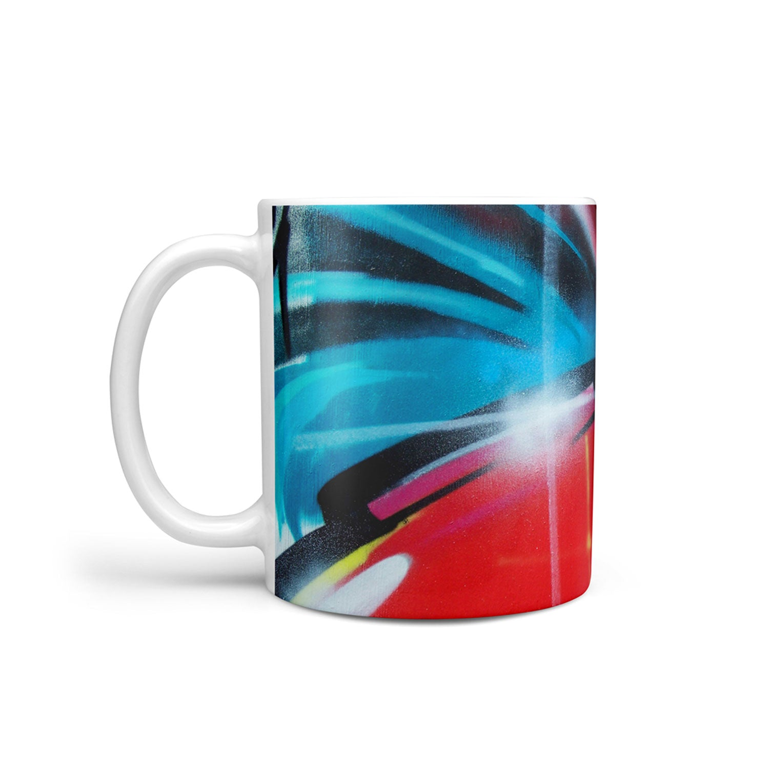mug with spraypaint design in red, blue and yellow