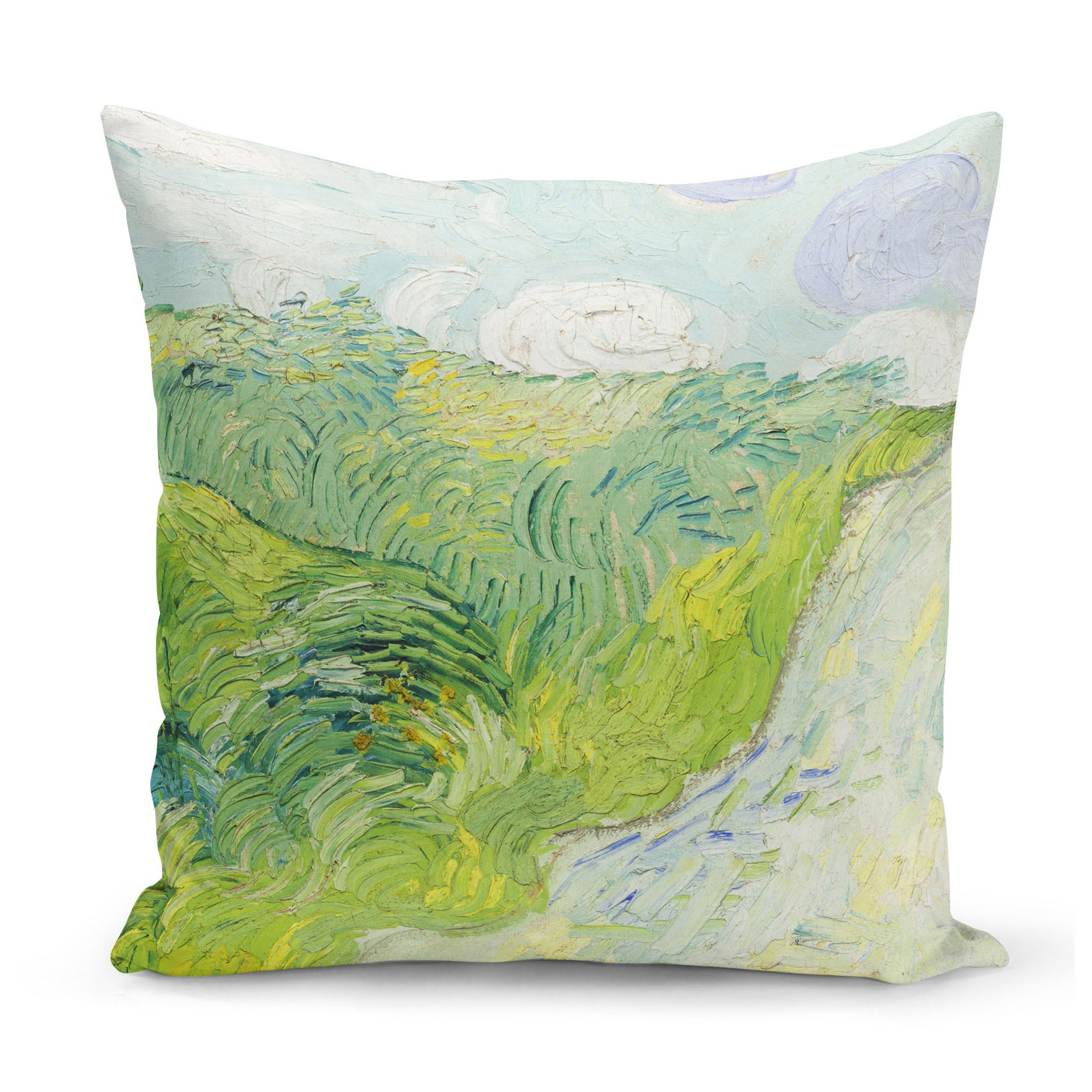 paint effect art cushion in pale green, showing Van Gogh's wheat field painting from 1890