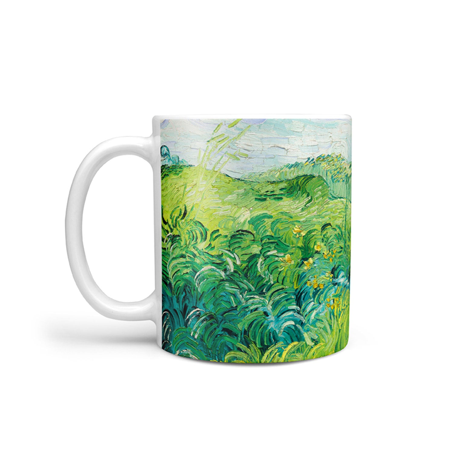 art mug showing Van Gogh wheat field painting