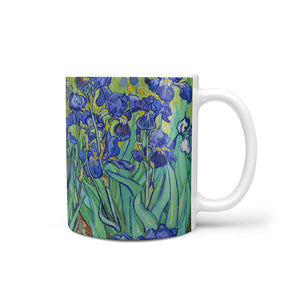 art mug showing Van Gogh irises painting