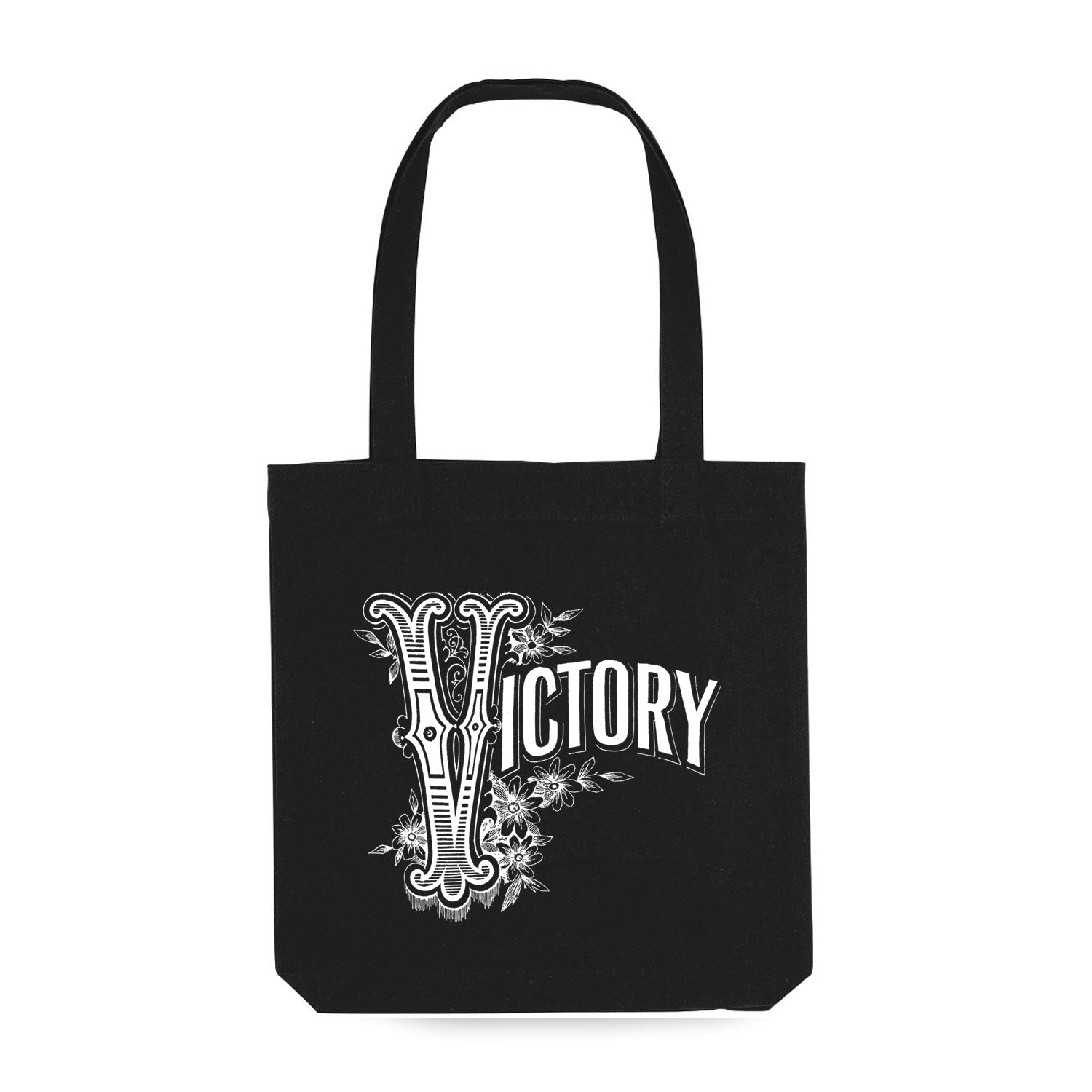 black tote bag with 'victory' on the front in vintage lettering
