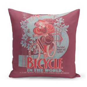 cushion with quirky vintage bicycle advert design