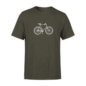 khaki mens t shirt with vintage bike graphic