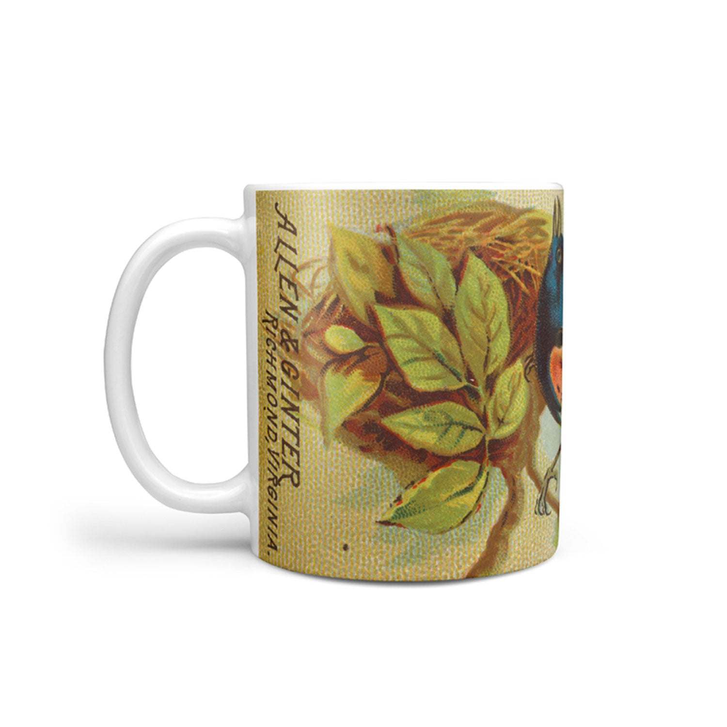 mug with a vintage redstart bird illustration