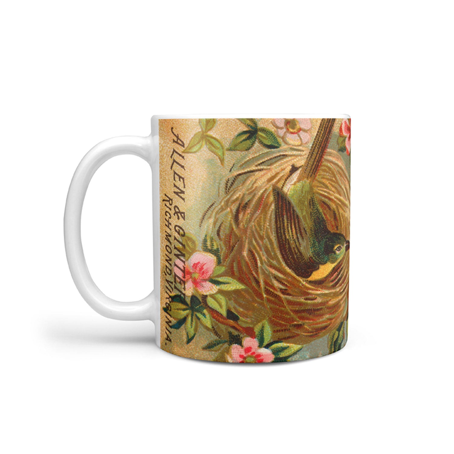 mug with a vintage yellow breasted chat bird illustration