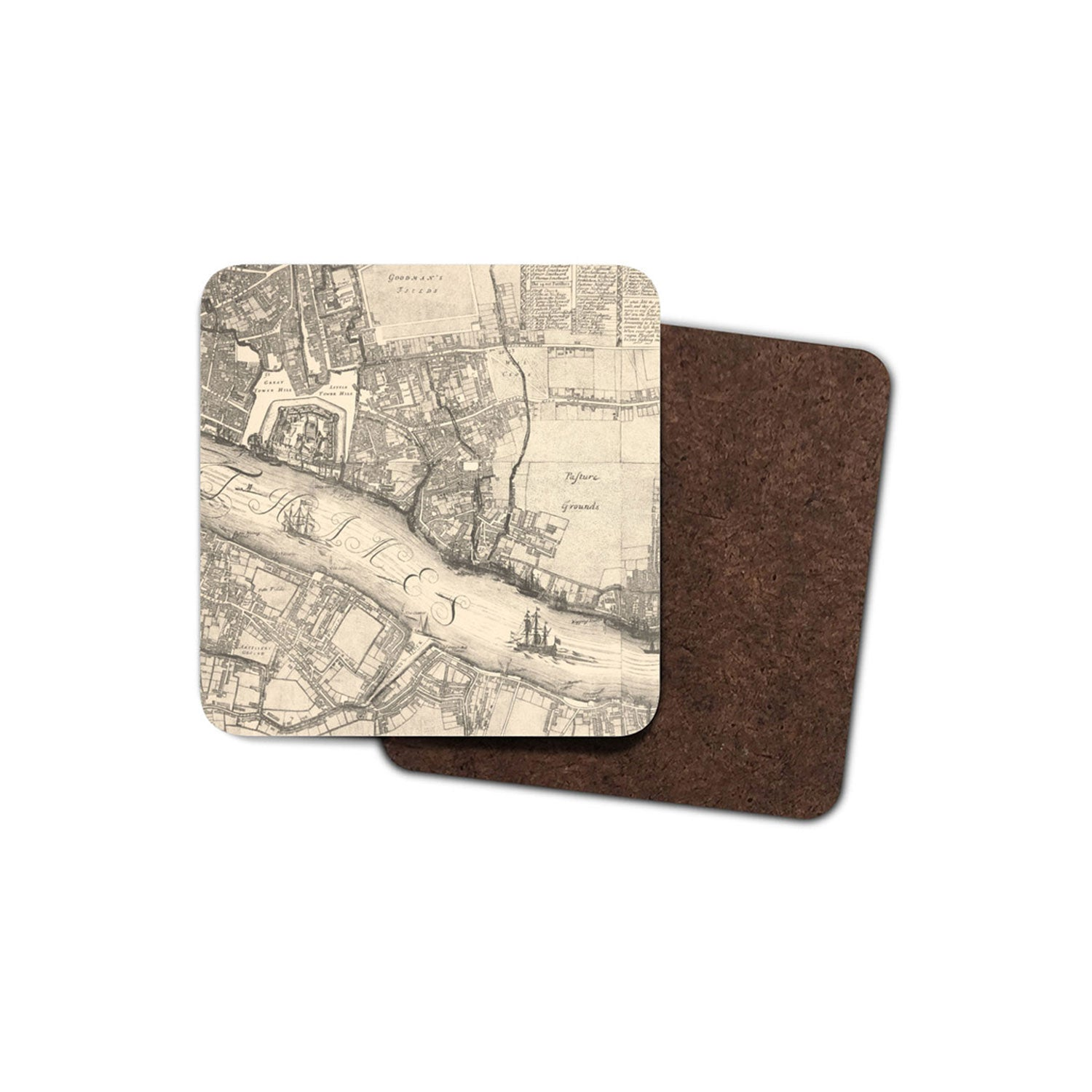drinks coaster with historic map of london printed on it