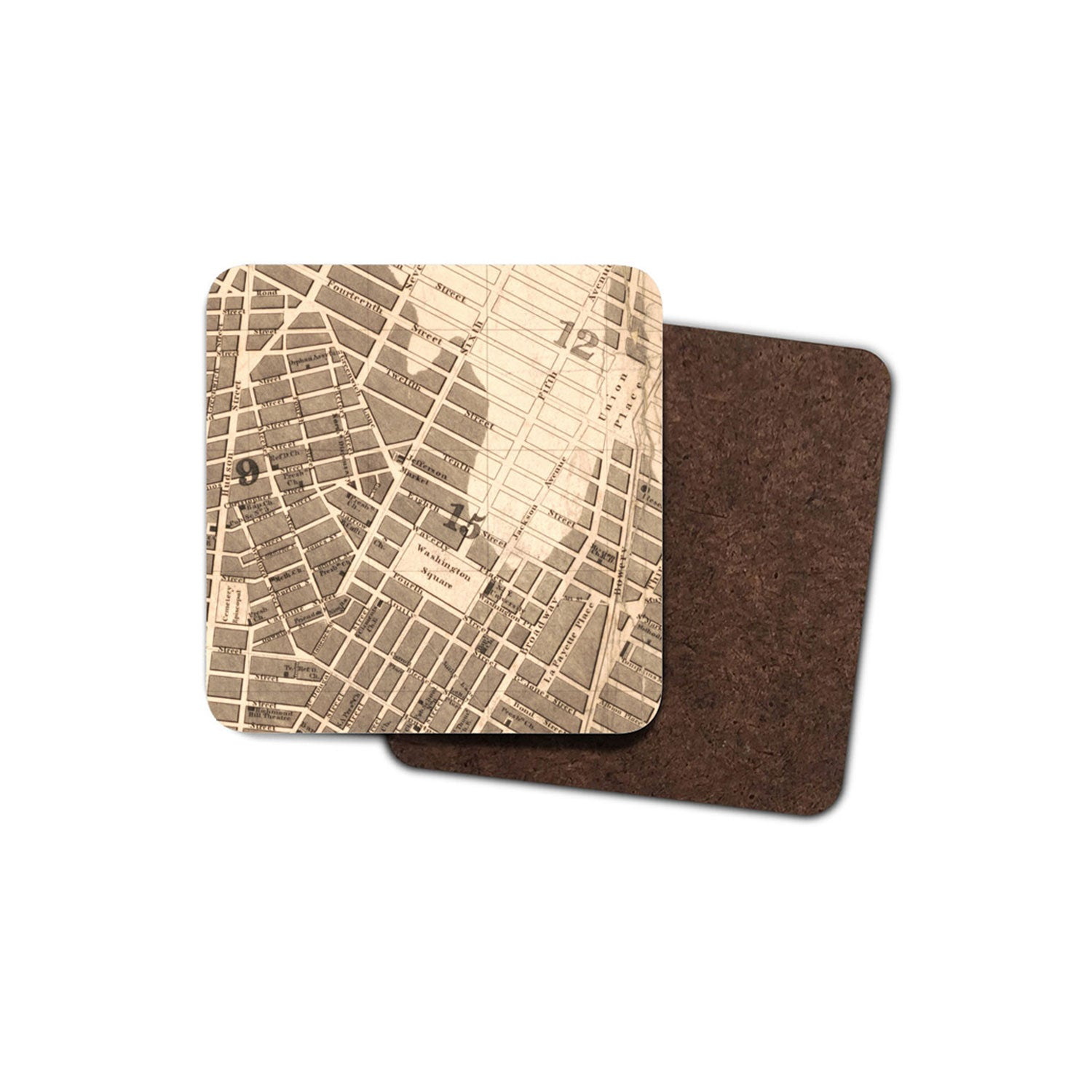 drinks coaster with historic map of new york printed on it
