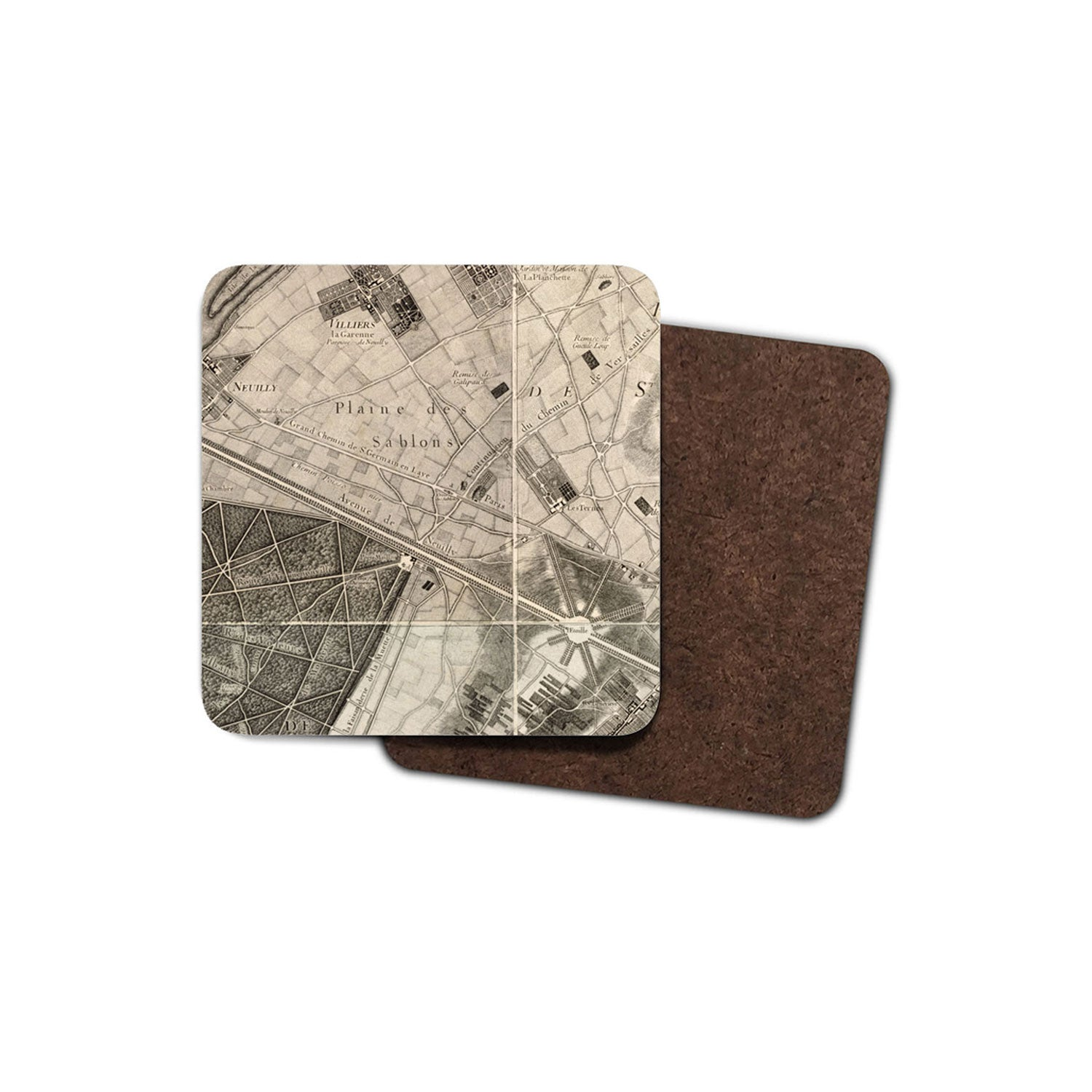 drinks coaster with historic map of paris printed on it