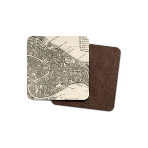 drinks coaster with historic map of venice printed on it