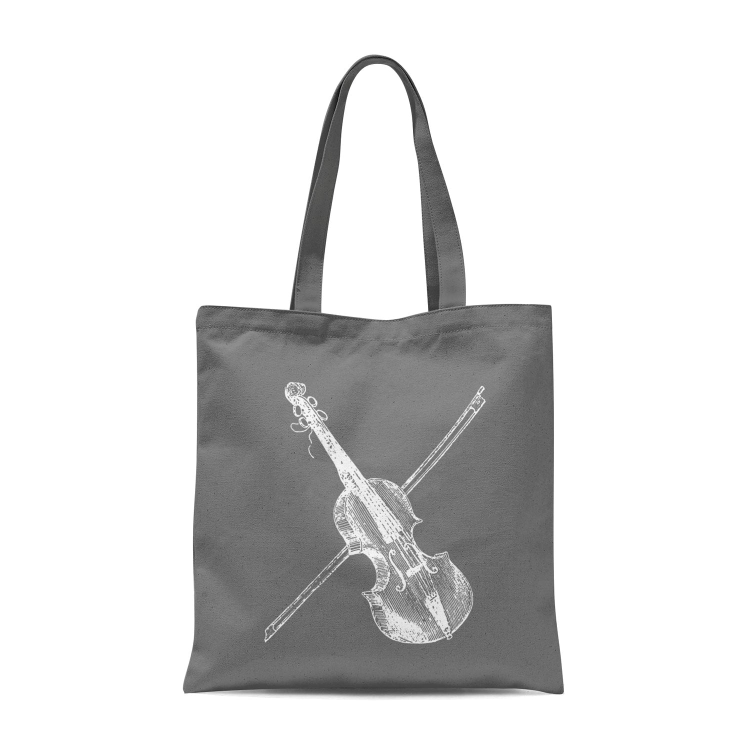 grey tote bag with white violin illustration