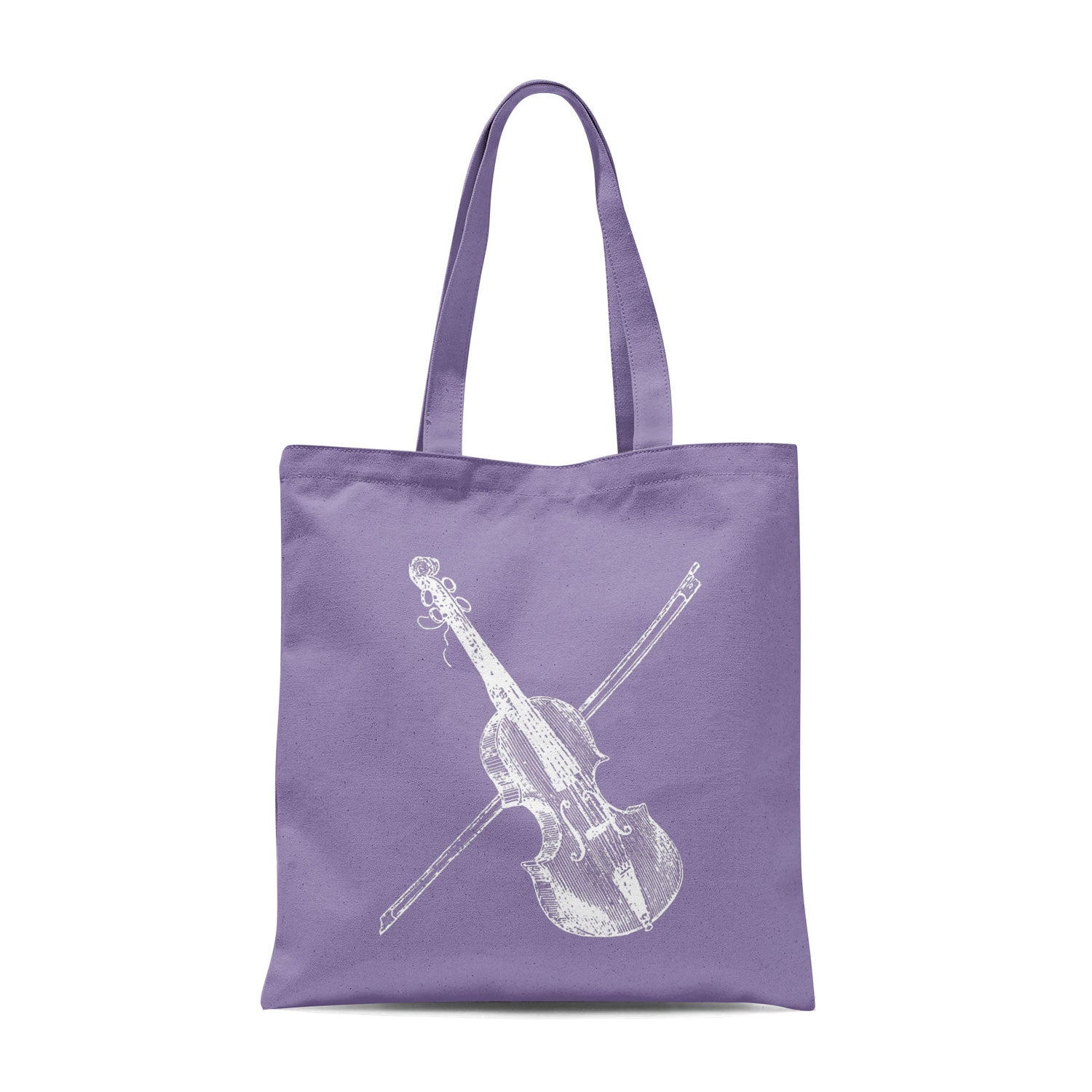 lavender tote bag with white violin illustration
