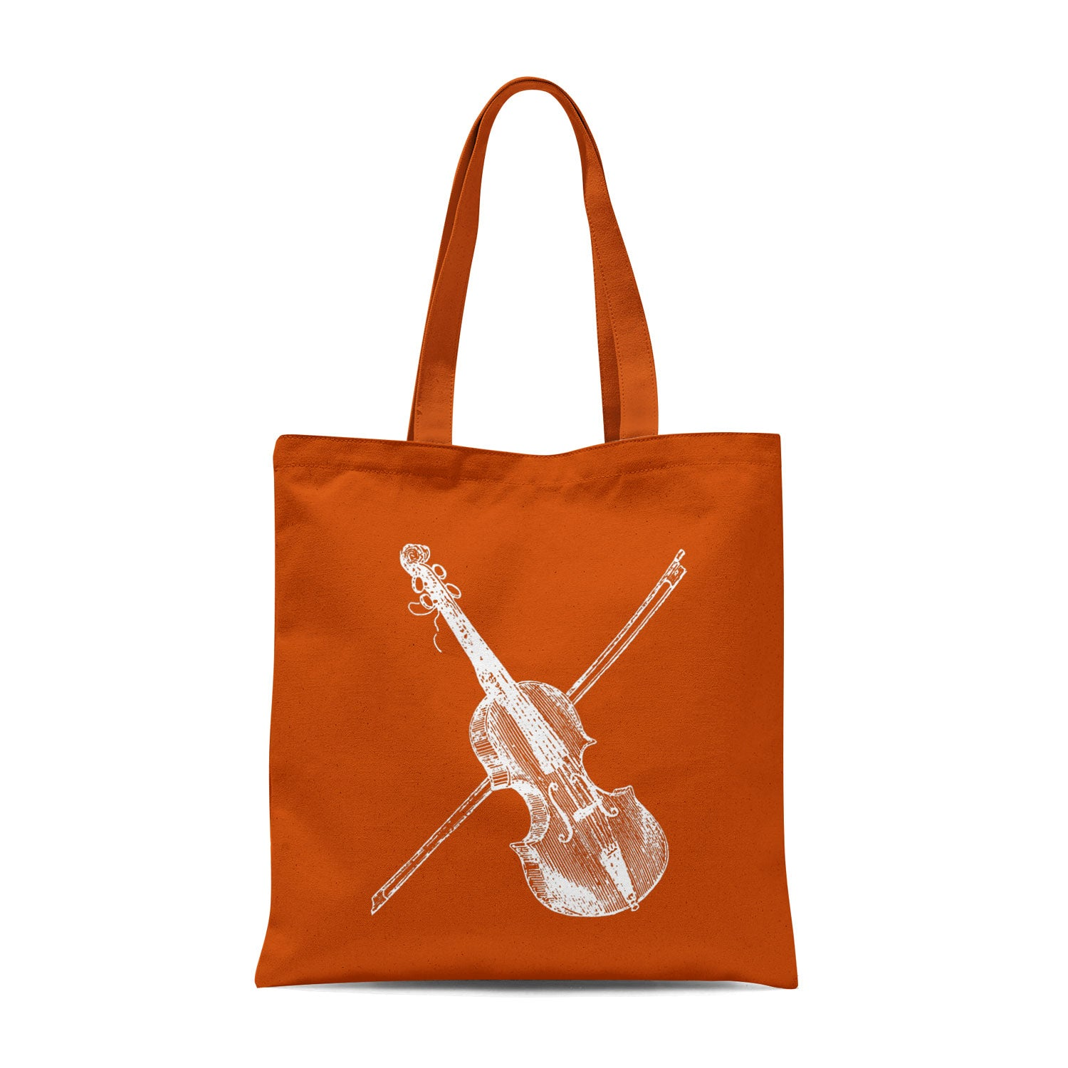 orange tote bag with white violin illustration