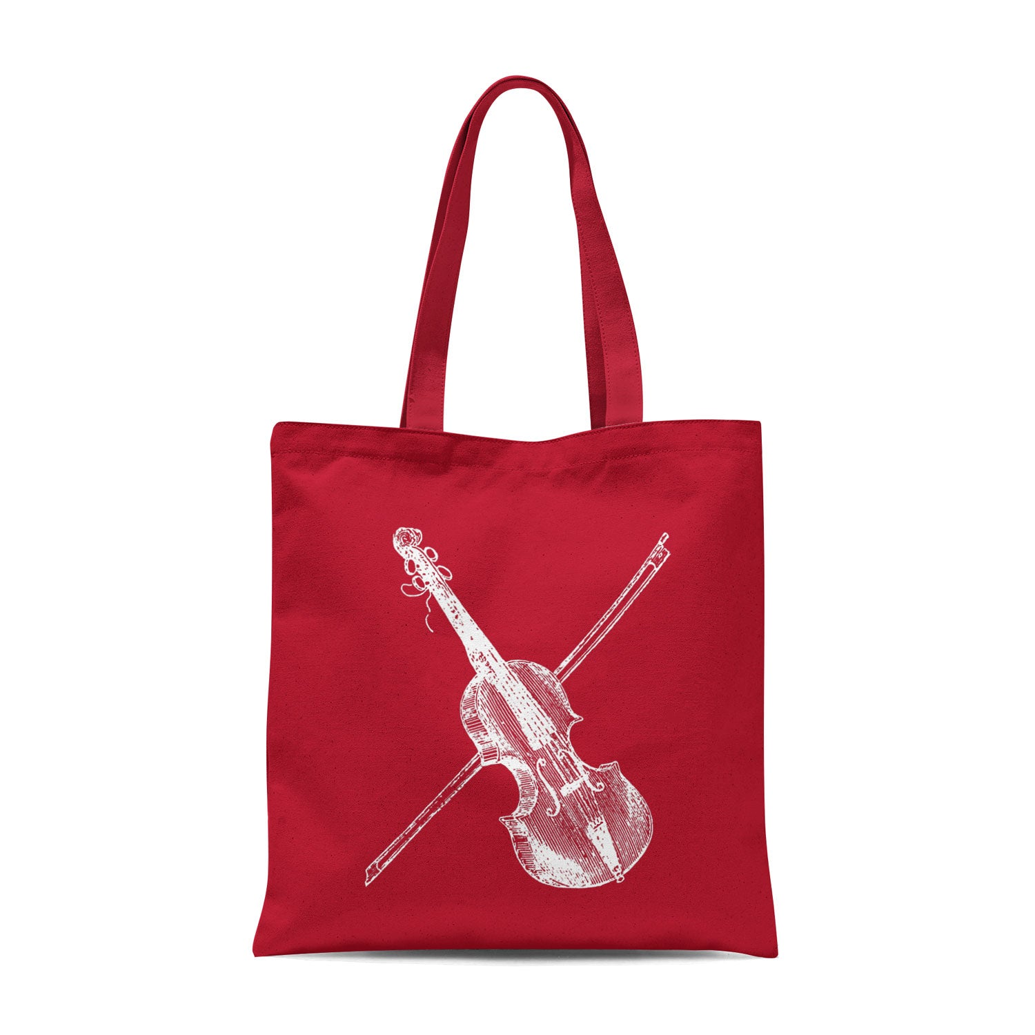 red tote bag with white violin illustration